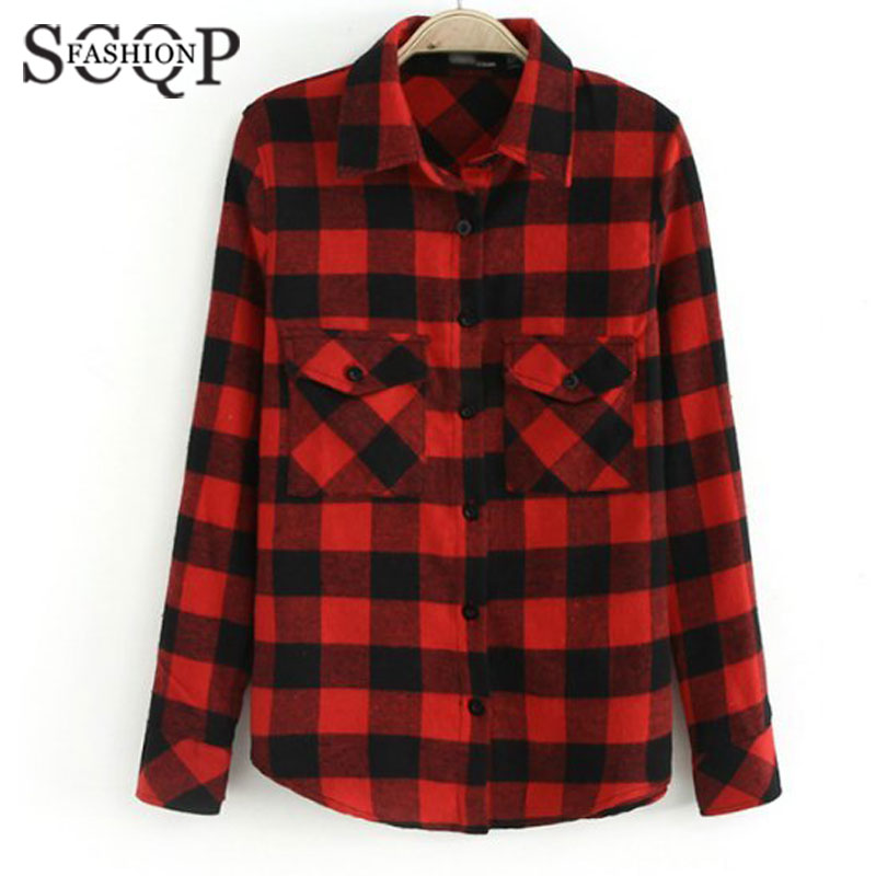 Popular womens red plaid flannel shirt buy cheap womens for Where to buy cheap plaid shirts
