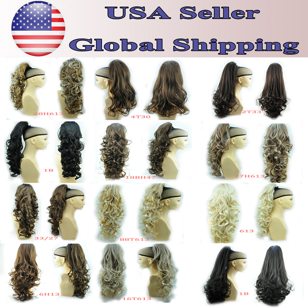 """(Ship from USA)GEX (USA) 24"""" & 160g Hair Claw Pony Tail Ponytail Hair Extensions Hair Piece Curled Wavy Heat-Resisting Div. Col(China (Mainland))"""