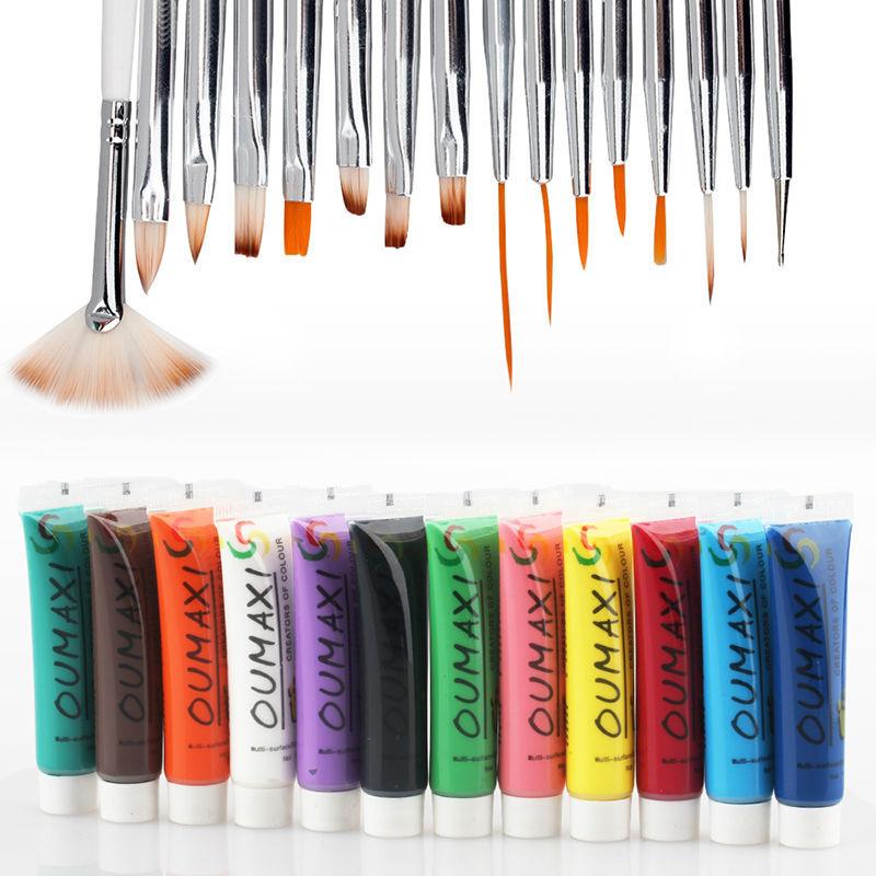Professional 12 Colours 3D Manicures Set Nail Art Paint Brush Pen Pallet Tool Acrylic Nail Kit Sets(China (Mainland))