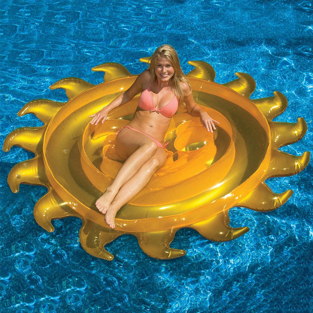 2016 Летом Наиболее Популярных Желтый Круглый Надувной Вс Float Остров Шезлонг Бассейн Плот Плавающей Кровать Матрасы 160 СМ