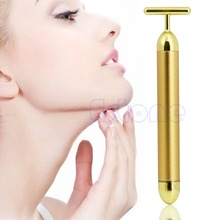 Free shipping 24K Golden Waterproof T Shape Pulse Beauty Bar Facial Roller Massager Skin Care
