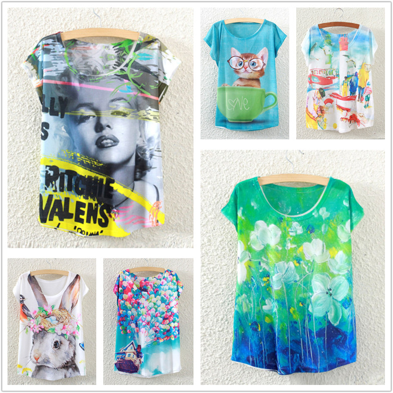 Женская футболка Brand new Raisevern 3d t blusas harajuku t женская футболка other 2015 3d loose batwing harajuku tshirt t a50