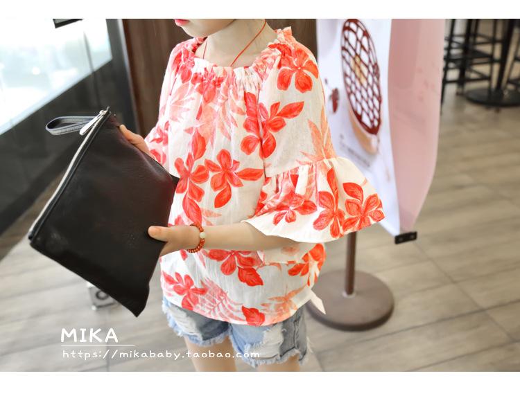 2-7y, 2016 New Children Summer T-shirt Girls Floral Shirt Baby Cotton Flare Sleeve Shirt Kids Beautiful T-shirt Blouse
