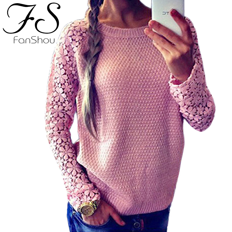 FanShou Free Shipping 2014 Women Sweater Long Sleeve Hollow Out Casual Sweaters Patchwork Lace Pullover Knitted Sweater(China (Mainland))