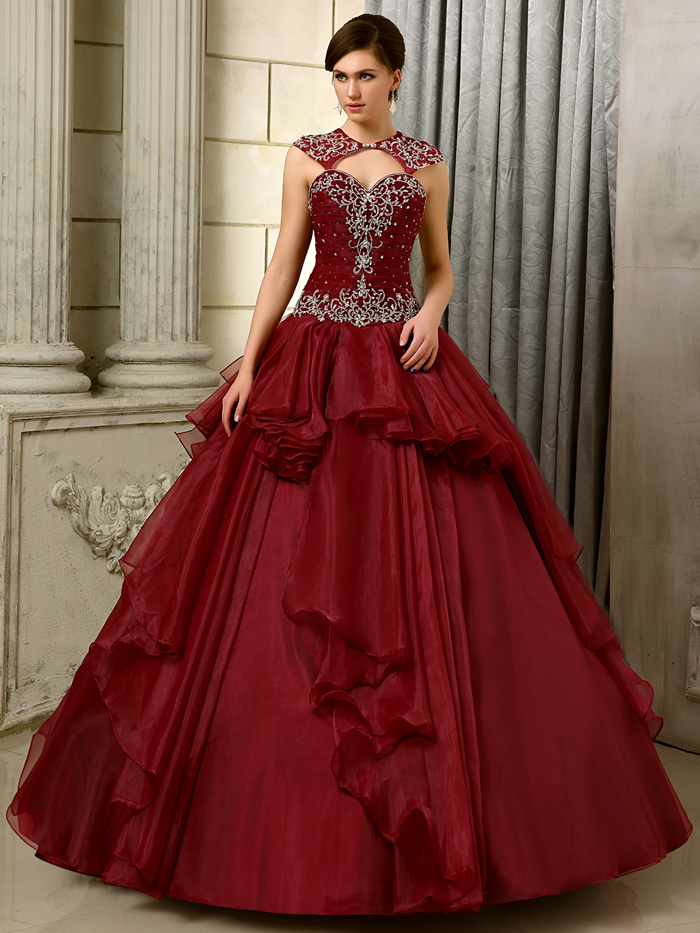 2016 big ball gown gowns burgundy long floor length for Big red wedding dresses