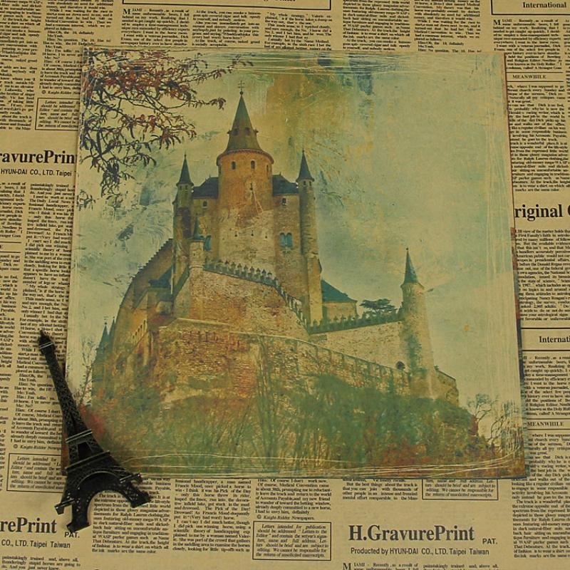 """AQ-062 New arrival vintage Retro poster about """"famous building The Old castle"""" Kraft paper wall art craft sticker pictures(China (Mainland))"""