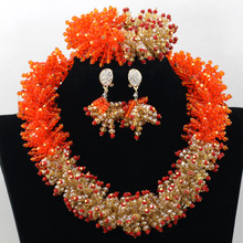 Wedding Nigerian African Beads Jewelry Set orange Gold Bridal Inidan Necklace Jewelry Set 2015 Hot Free Shipping by DHL .TS60105(China (Mainland))