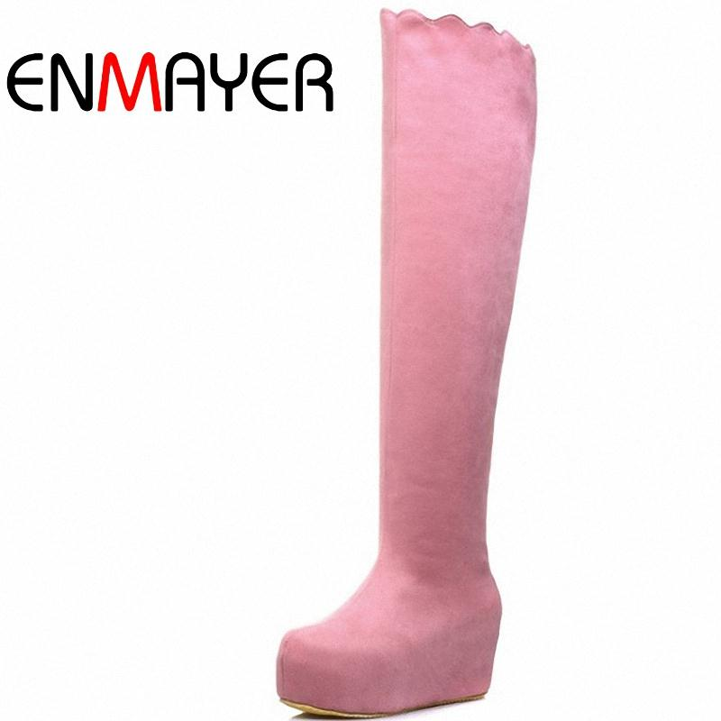 ENMAYER Over-the-Knee boots new 2015 wedges snow boots women winter Boots for women Round Toe platform long High boots<br><br>Aliexpress