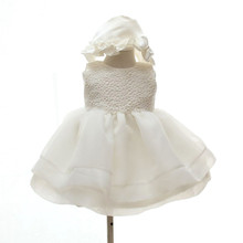AZEL 2016 Summer new baby girl baptism dress with hat ball gown solid formal baptism clothes baby girl christening gowns SKF