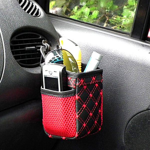 Fashion Auto Car Phone Keys Storage Bag Mesh Net Air Outlet Car Small Things Holder Multi-Pocket Practical Pouch(China (Mainland))