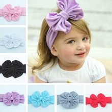 Bow: 12 * 11cm, Belt Width 7cmCharming Baby Hair Accessories Children Cotton Bow Hair Band Sweet Head Band 9 Colors BB-2667(China (Mainland))