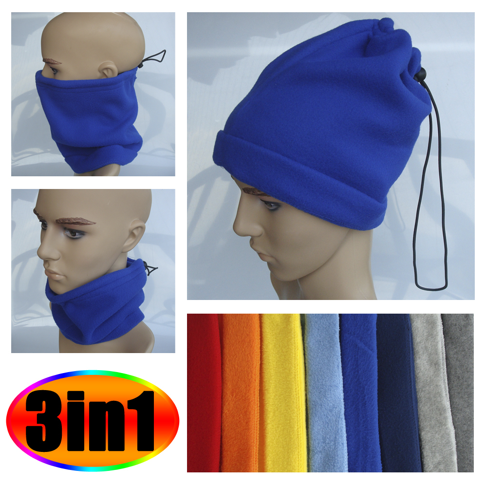 3-in-1 Micro Polar Fleece Neck Warmer Face Mask Snood Hat with Hemming Decor for Skiing Snowboard Cycling Riding Scarf 7 Colors(China (Mainland))