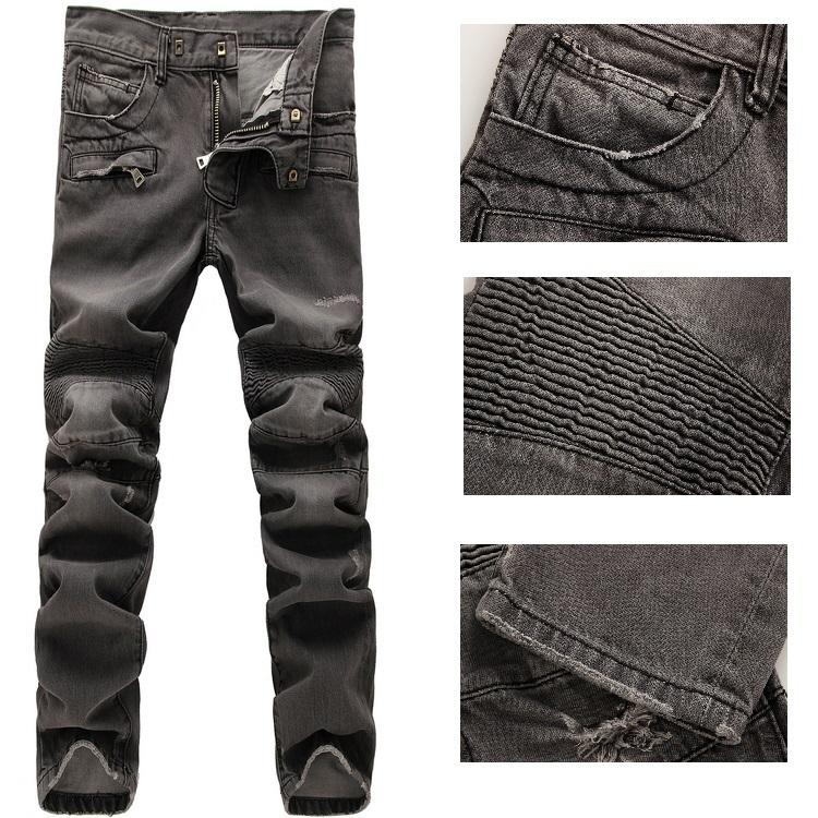 NWT Paris Men's Fashion Runway Distressed Biker Slim Washed Grey Jeans Size28-38 (#907)(China (Mainland))