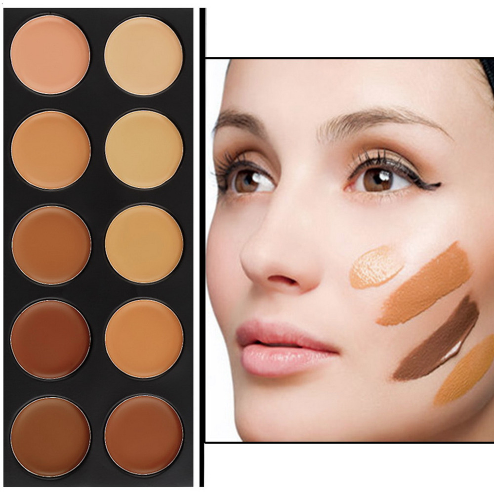 New Professional 10 Color brand makeup Concealer Palette Camouflage Matte Facial primer Makeup Cosmetic foundation base make up(China (Mainland))