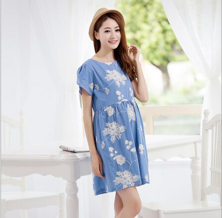2015 summer cotton maternity clothes han edition little pure and fresh and three-dimensional plate flower pregnant women dress(China (Mainland))