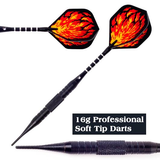 16g soft tip darts professional set , L49D7.4mm Nickel black barrel Aluminum Shaft blaze flights soft Darts electronic dar