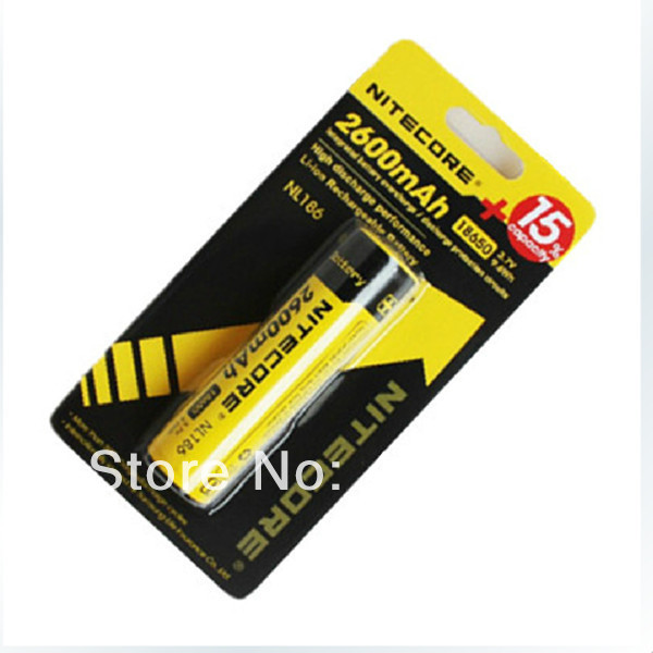 Nitecore NL186 18650 Battery 2600mAH Long Lasting Battery(China (Mainland))
