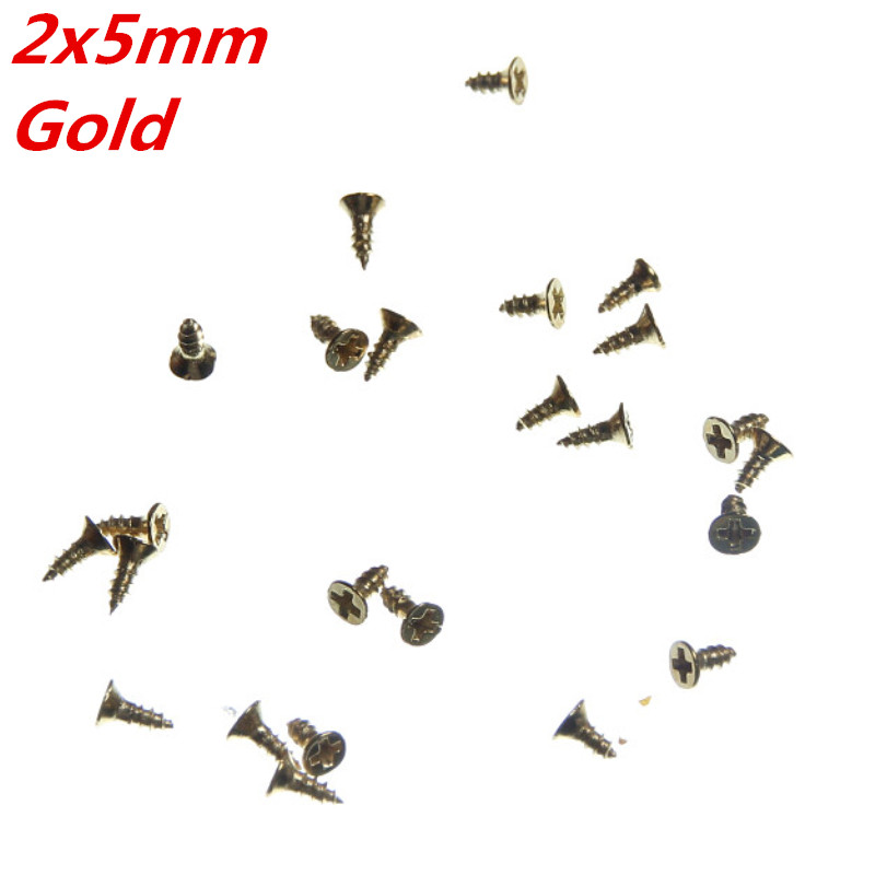 Philip Plain Screw 200Pcs Gold Fit Hinges Flat Head Self-Tapping Phillips Cusp Wood Screws Fasteners Hardware 2x5mm(China (Mainland))
