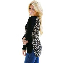 Women Leopard Long Sleeve Casual Tee T-Shirt Shirts Ladies Loose Sexy Tops(China (Mainland))