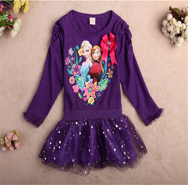 Purple Dresses Baby Girls Spring Toddler Girls Long sleeve Clothes Lace Sequin Princess Anna Elsa Dress Birthday Party Costume(China (Mainland))