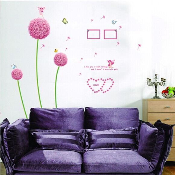 The new removable wall stickers decorative painter loaded furnishings creative Mural dandelion AY6006B(China (Mainland))