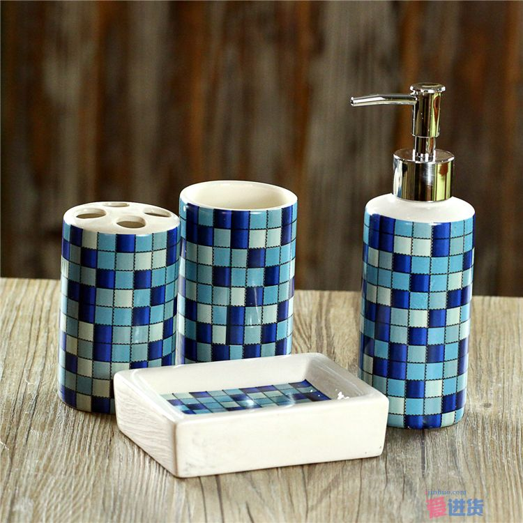 4 Pcs Set Fashion Mosaics Ceramic Bathroom Accessories Set Sanitary Combinati