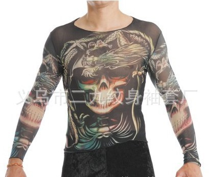Long sleeves skull dragon tattoo clothing tattoo t shirt for Tattoo shirts long sleeve