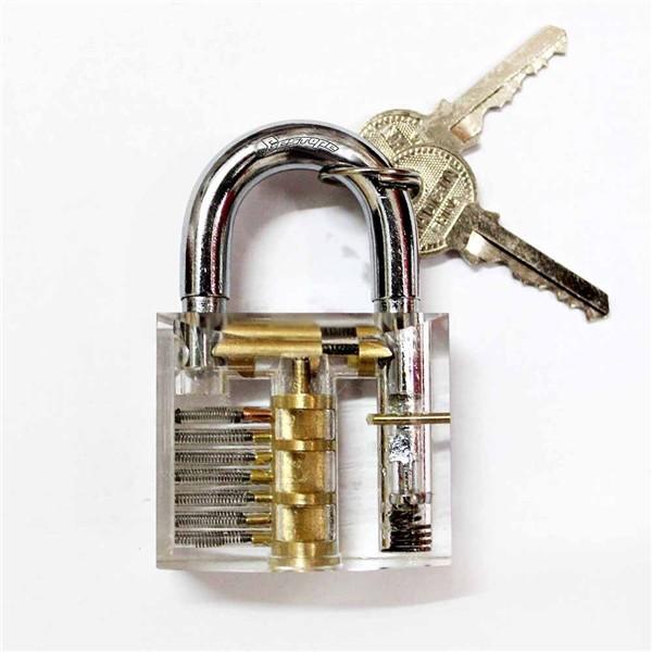 Transparent Practice Padlocks Cutaway Inside View Locksmith Tools Door Lock Lock Smith Tools Trainer Skill w/ 2 keys(China (Mainland))