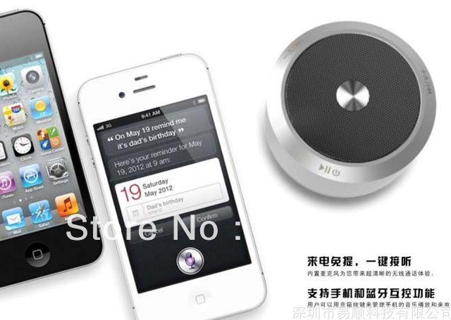 Bluetooth speaker ES-E806 color silver metal wireless Support line-in function support hand free calls, and echo weakening