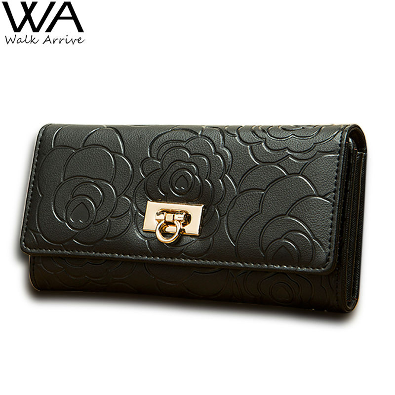 Genuine Leather Women Wallet Embossed Flowers Leather Clutch Wallet Cowhide Purse for Lady Money Bag portfolio female <br><br>Aliexpress