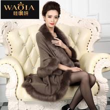 2016 New Fashion vestidos Cashmere Imitation Fox Fur Coat Cardigan Women Poncho Knitted coat 9 colors women Scarves(China (Mainland))