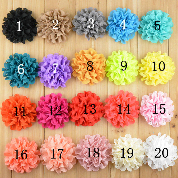"""300pcs/lot 2014 New 3"""" Lace Eyelet Flower kids hair accessories Fabric Chiffon Flowers for headbands Free Shipping TH03(China (Mainland))"""