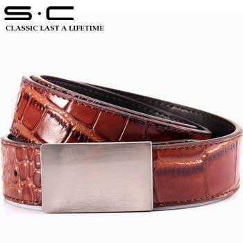 S.C Free Shipping genuine leather belts for men + business belt + cowhide leather belt black  WM12PB0003