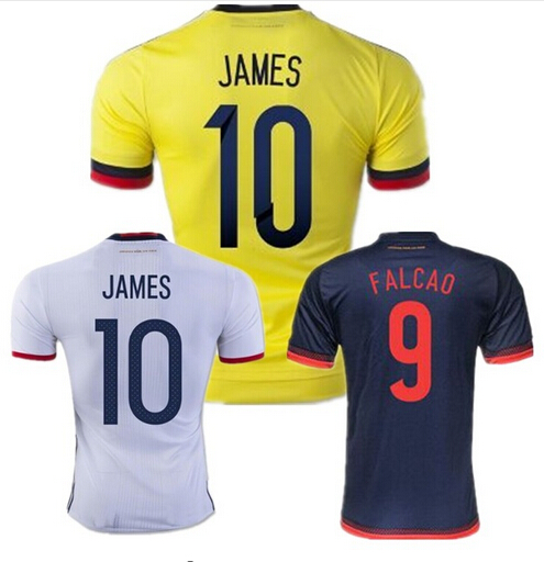 2016 Soccer Jersey Colombia Football Shirts James Rodriguez camisas 2017 Radamel Falcao Cuadrado America Cup Home White Maillot(China (Mainland))