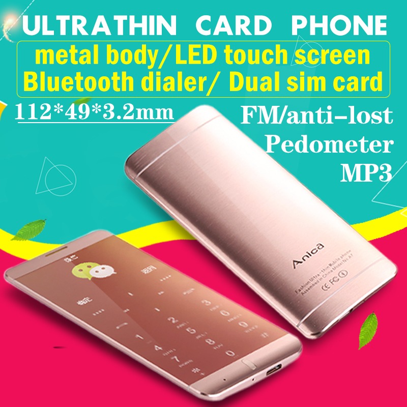 Ultrathin credit card mobile phone A7 OLED touch display metal body MP3 dual sim FM bluetooth dial sync SMS mini P151(China (Mainland))