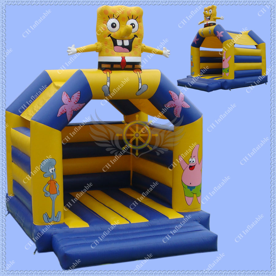 HOT SALE Inflatable Sponge Bob Bouncy Castle for Kids ,4m*4m Commercial Quality Inflatable Jumping Castle(China (Mainland))