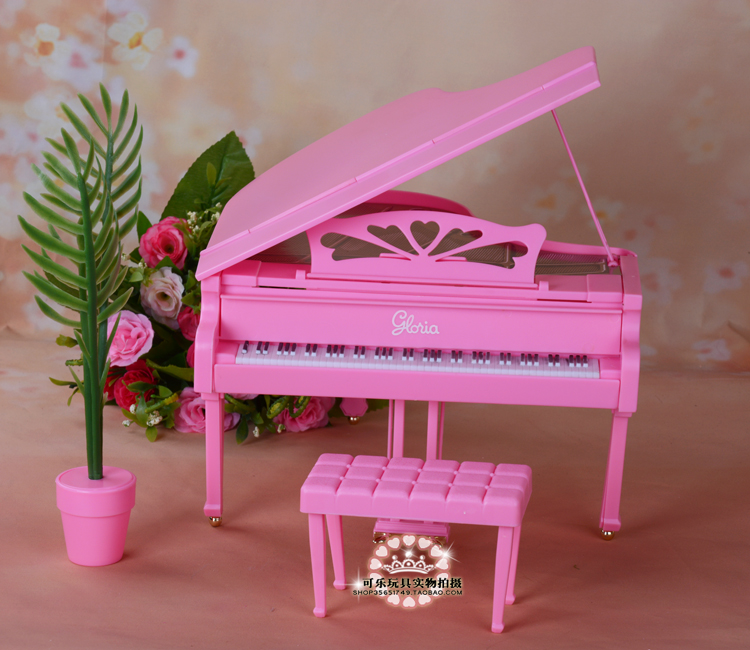 Dolls equipment new furnishings pink simulation piano for barbie doll toy diy play units youngsters women birthday presents