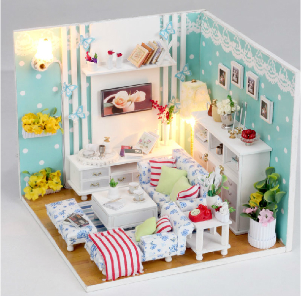 Wooden Dollhouse Miniature Bedroom Model /3D DIY Kit Light Nice Room New* - Fashion Cottages store