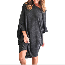 Buy 2017 Spring Sexy Casual Loose Solid Women Dress Ladies O Neck 3/4 Batwing Sleeve Asymmetrical Hem Knee Length Dress Vestidos for $10.26 in AliExpress store
