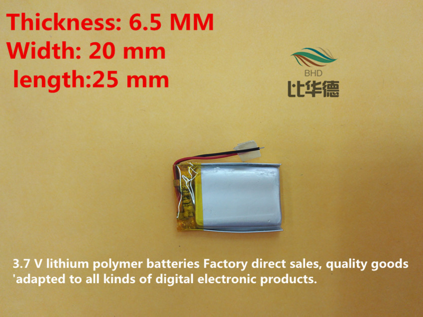 (free shipping) 652025 260mah lithium-ion polymer battery quality goods quality of CE FCC ROHS certification authority(China (Mainland))
