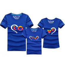 1pc 2016 Fashion Family Matching Outfits Heart-shaped T-shirt 12 Colors Korean family clothes mother father daughter Son clothes