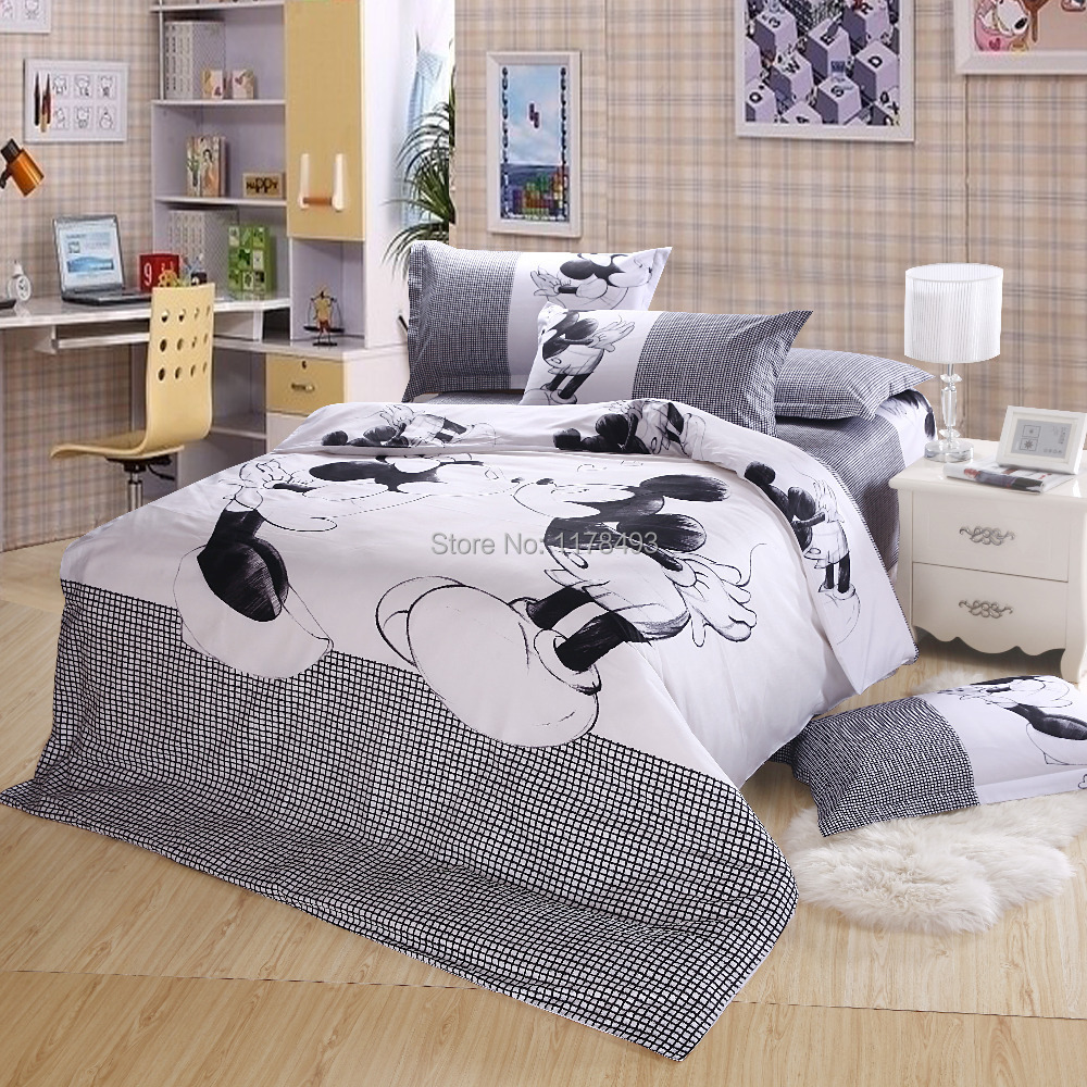 2015 New Fashion Mickey mouse bedding sets 4pcs Cotton