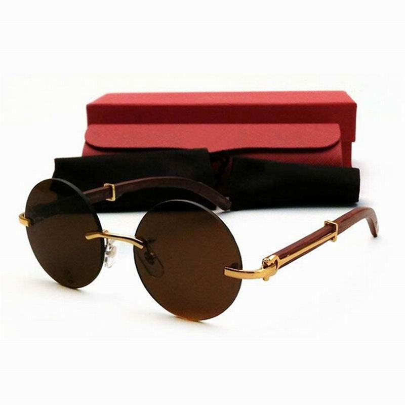 Carter Sunglasses Men Carter Glasses Wood Bamboo and Metal Frame Black Buffalo Horn Eyewear Round Rimless gafas lunette de soleil (1)
