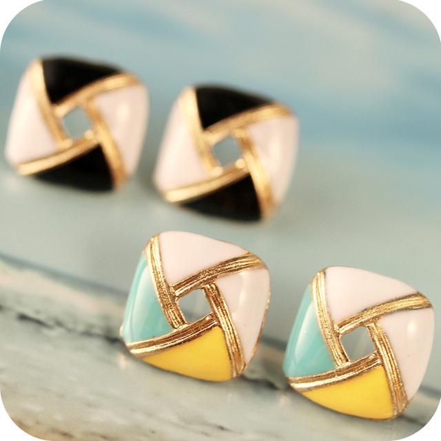 Fashion accessories vintage geometry square oil Enamel stud earring free shipping