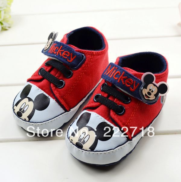 Kids Name Brand Shoes, Free Shipping Toddler Soft Prewalker Shoes Girls Red&Black Cartoon Baby Mouse Fabric Baby Shoes S166(China (Mainland))