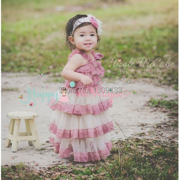 lace petti romper dress, ivory dusty pink lace dress,mauve flower girl tutu dress(China (Mainland))