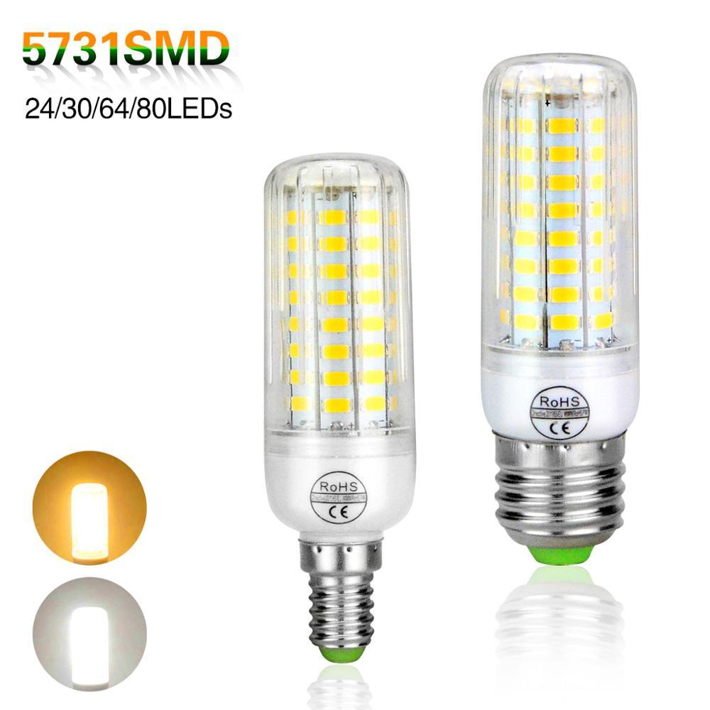 E14 E27 Led Light Bulbs Lampada Led Lamp 220V 5731 SMD Chandeliers 24 30 64 80 Leds CR ROHS Corn Bulb Light Radiation Cover(China (Mainland))
