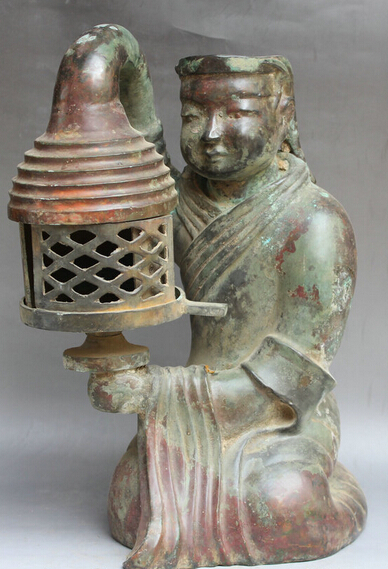 "wholesale factory 16"" Chinese Dynasty Bronze Ancient Man Servant oil lamp palace lantern Statue(China (Mainland))"