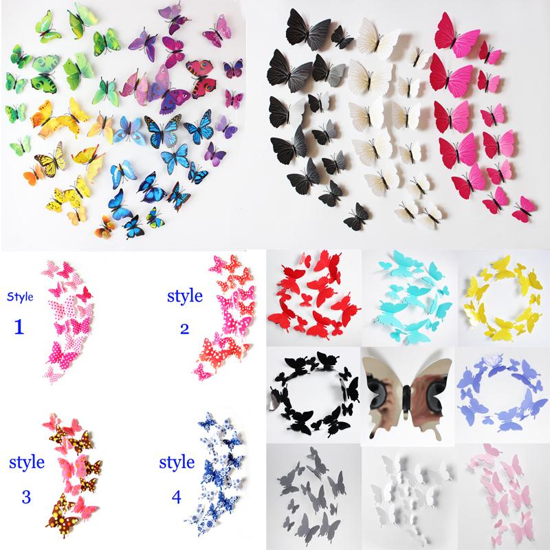 3D Butterfly Wall Stickers Wallpaper Home decor Wedding Decortion Mirror Sticker(China (Mainland))