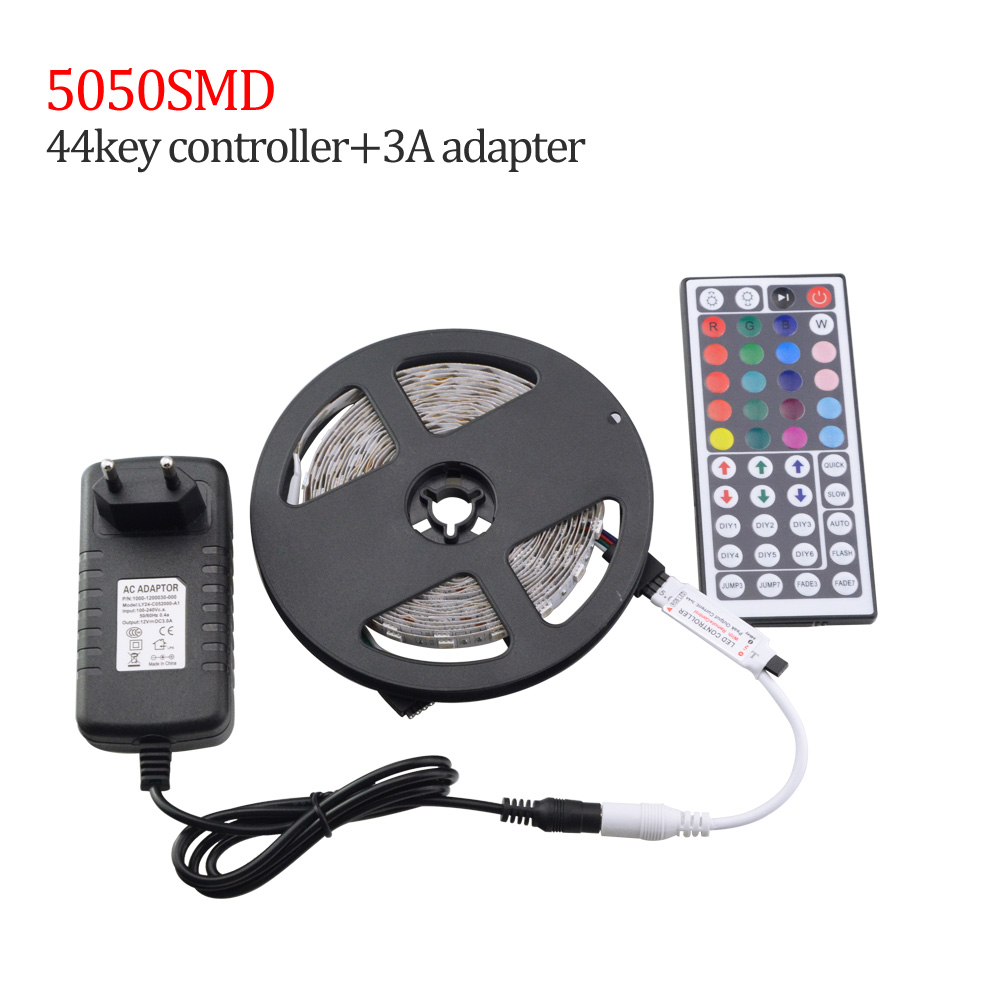 5M LED Light Strip SMD 5050 Waterproof LED Strips 60Leds/m Diode Tape Lamp / 24 44key Remote Controller / 3A 12V EU Power Supply(China (Mainland))